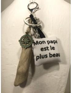 """Porte clé """"mon papa"""" blanc"""